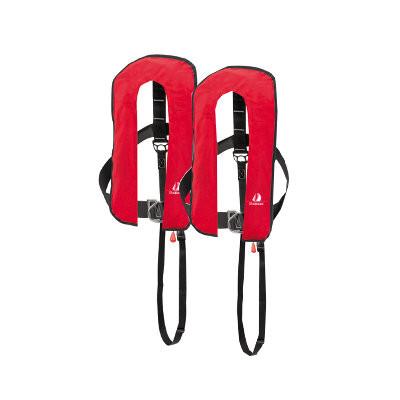 Set van 2: 12skipper automatisch reddingsvest 300N ISO met harnas, rood