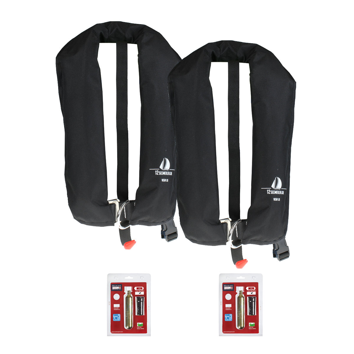 Set van 2: 12skipper automatisch reddingsvest 165N ISO met harnas, zwart, en herlaadset