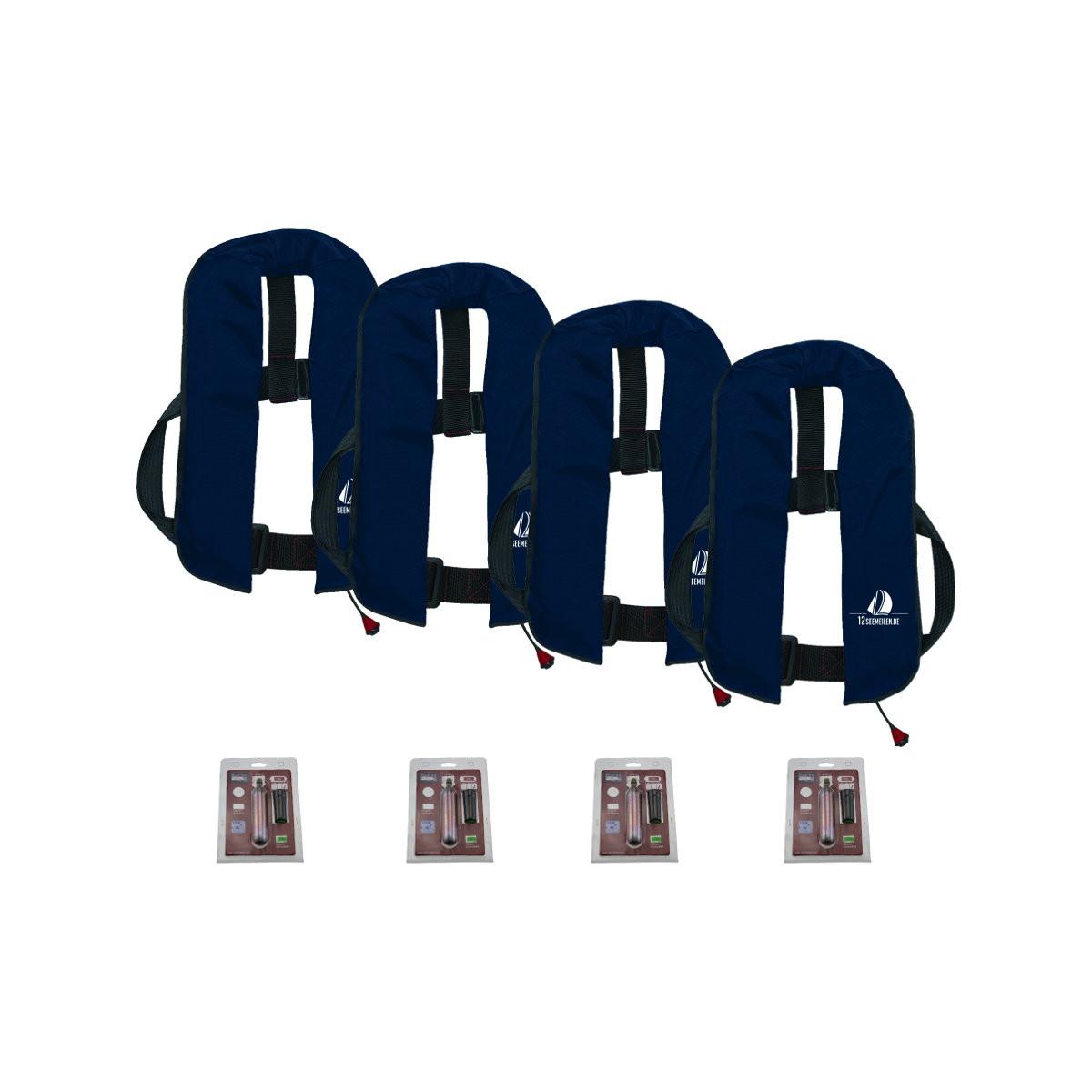 Set van 4: 12skipper automatisch reddingsvest 165N ISO, marineblauw, en herlaadset