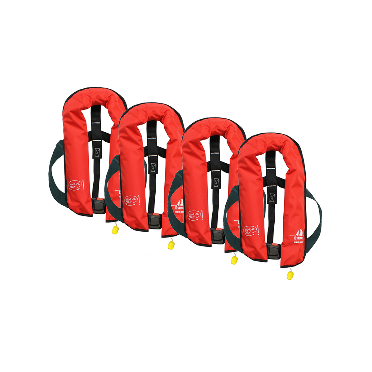 Set van 4: 12skipper handmatige reddingsvest 165N ISO, rood