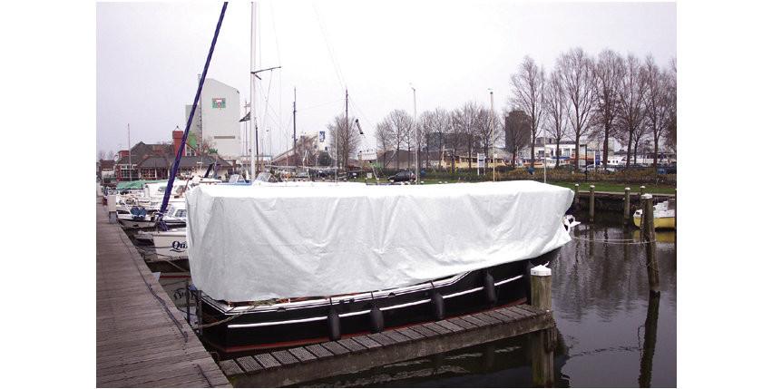 afdekzeil wit met ogen - 150g, meter