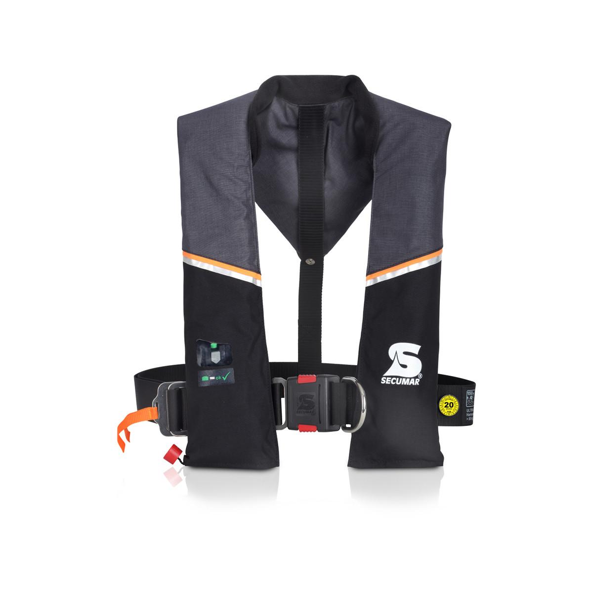 Secumar Ultra 170 automatische reddingsvest met harnas en lifebelt 165N, kleur grijs-zwart