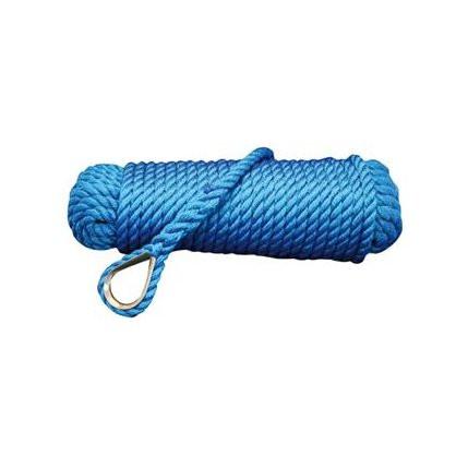 Talamex Ankerlijn met vingerhoed - blauw, diameter 10mm, lengte 20m
