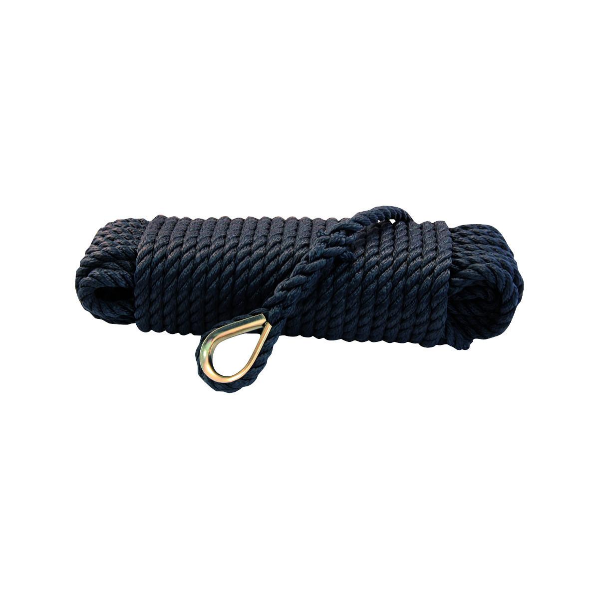 Talamex Ankerleine mit Kausche – schwarz, Durchmesser 12mm, Länge 30m