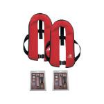 Set van 2: 12skipper automatisch reddingsvest 165N ISO met harnas, rood, en herlaadset
