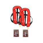 Set van 2: 12skipper handmatige reddingsvest 165N ISO, rood, en herlaadset