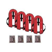 Set van 4: 12skipper automatisch reddingsvest 165N ISO met harnas, rood, en herlaadset