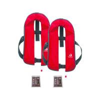Set van 2: 12skipper automatisch reddingsvest 165N ISO, rood, en herlaadset