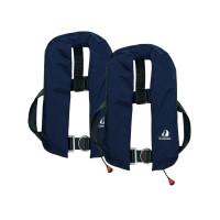 Set van 2: 12skipper automatisch reddingsvest 165N ISO met harnas, marineblauw