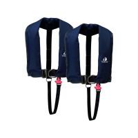 Set van 2: 12skipper automatisch reddingsvest 300N ISO met harnas, marineblauw