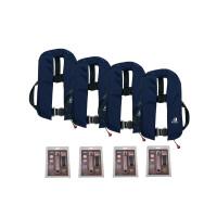 Set van 4: 12skipper automatisch reddingsvest 165N ISO met harnas, marineblauw, en herlaadset
