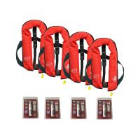 Set van 4: 12skipper handmatige reddingsvest 165N ISO, rood, en herlaadset